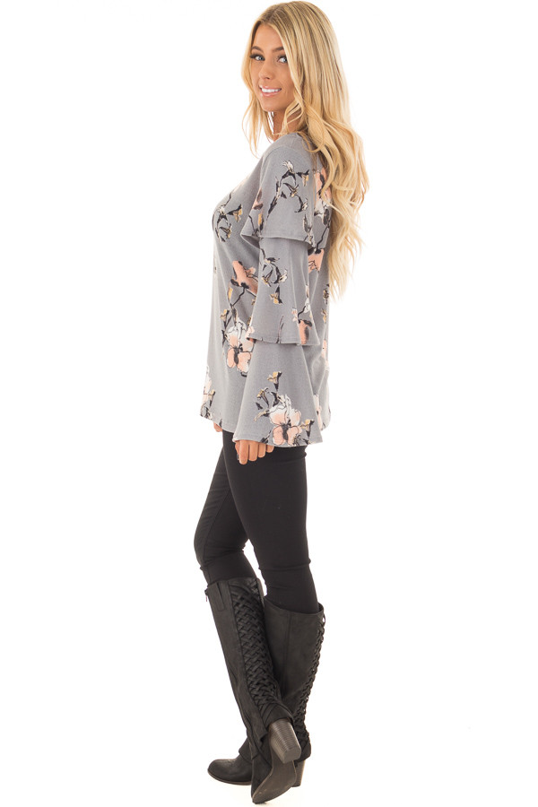 Steel Grey Soft Floral Layered Bell Sleeve Top side full body