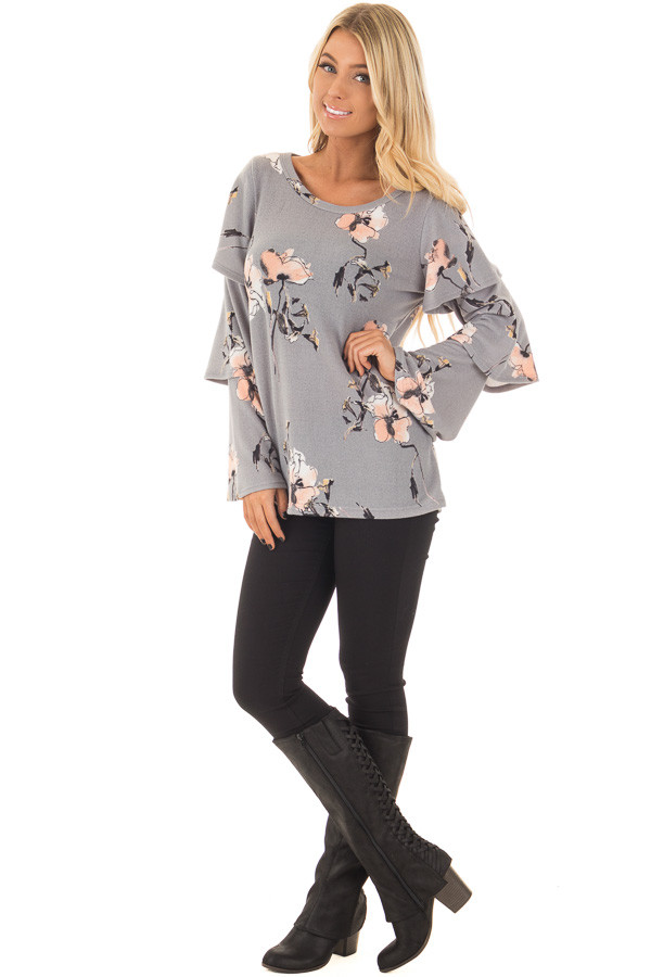 Steel Grey Soft Floral Layered Bell Sleeve Top front full body