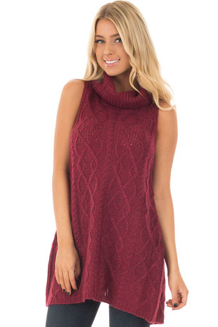 Wine Sleeveless Cowl Neck Sweater with Open Back front closeup