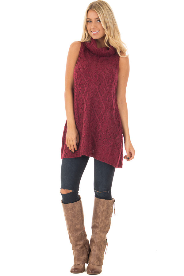 Wine Sleeveless Cowl Neck Sweater with Open Back - Lime Lush Boutique