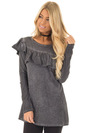 Charcoal Mineral Wash with Asymmetrical Ruffle Detail front close up