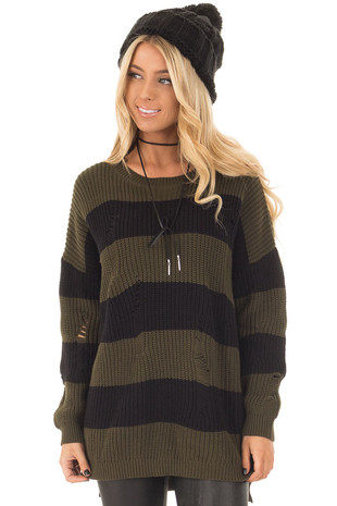 Olive and Black Striped Distressed Sweater front closeup