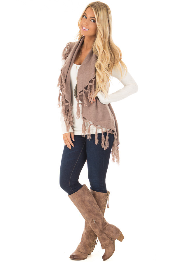 Mocha Sleeveless Cardigan with Fringe Details - Lime Lush Boutique