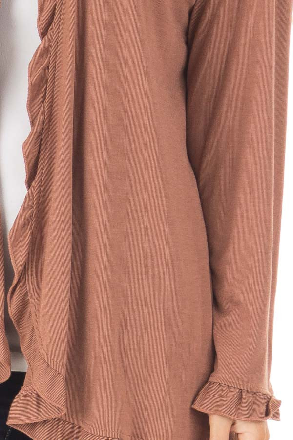 Cinnamon Long Sleeve Ruffle All Around Cardigan front detail