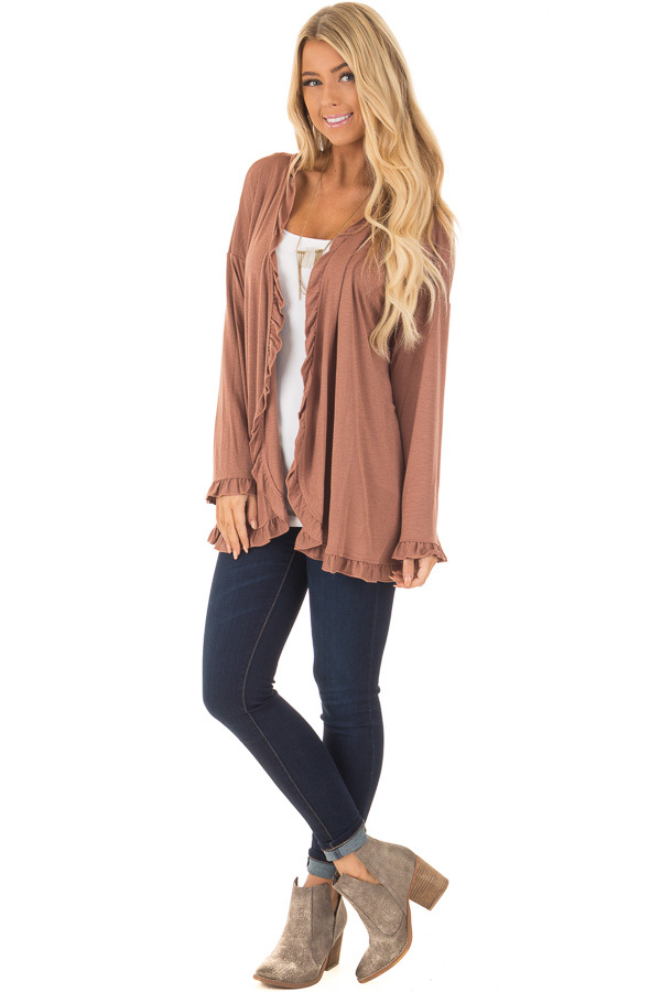 Cinnamon Long Sleeve Ruffle All Around Cardigan front full body
