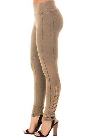 Olive Acid Wash Leggings with Criss Cross Leg Strap Details side view