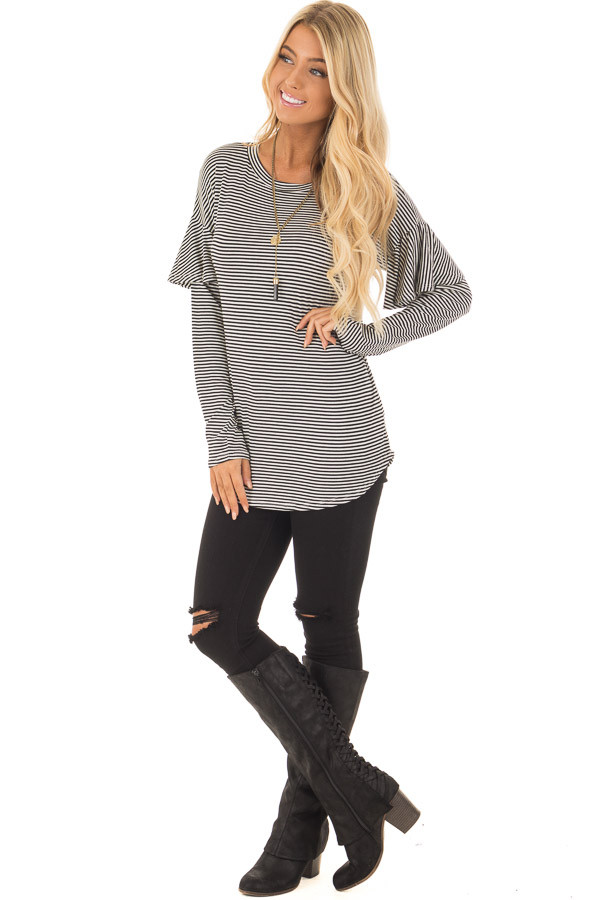 Black and White Stripe Long Sleeve Top with Ruffle Detail front full body