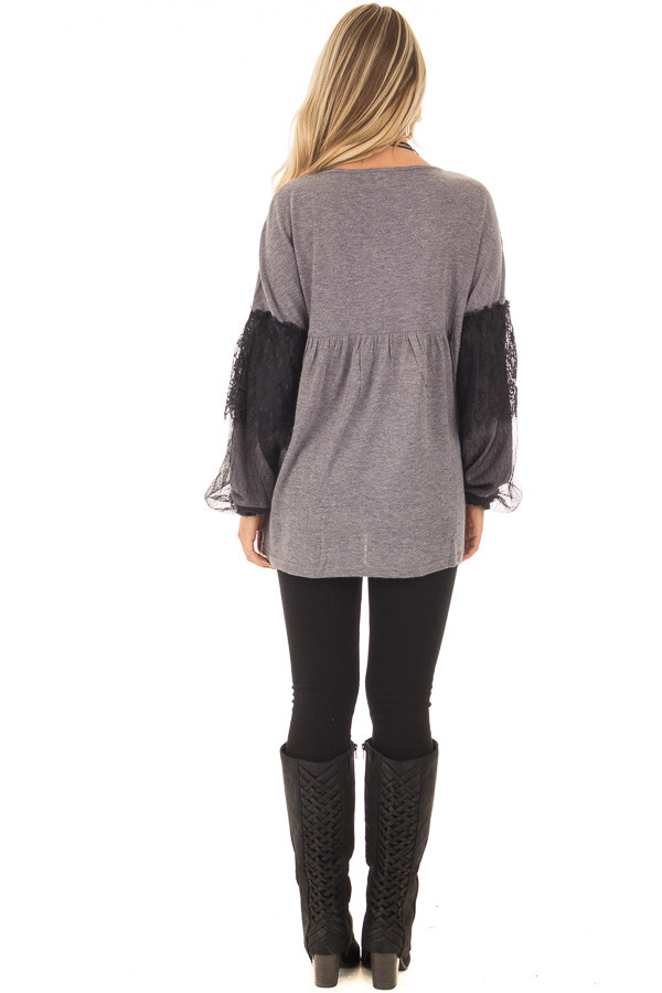 Charcoal Long Sleeve Top with Sheer Lace Details back full body