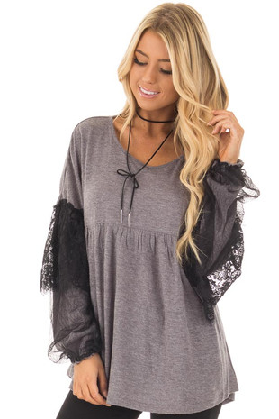 Charcoal Long Sleeve Top with Sheer Lace Details front closeup
