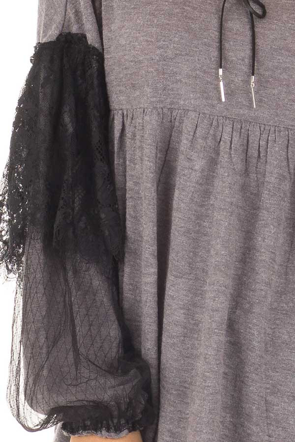 Charcoal Long Sleeve Top with Sheer Lace Details front detail