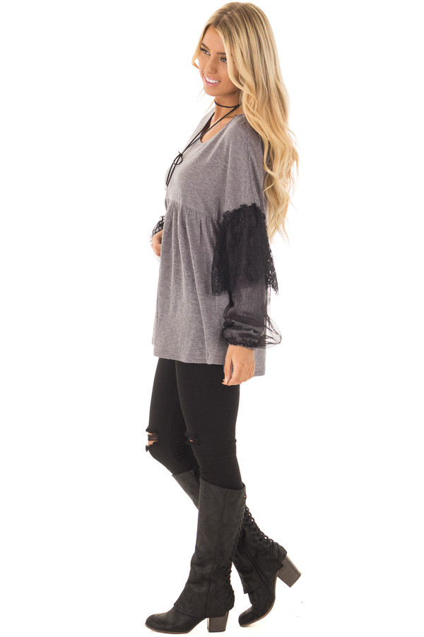Charcoal Long Sleeve Top with Sheer Lace Details side full body