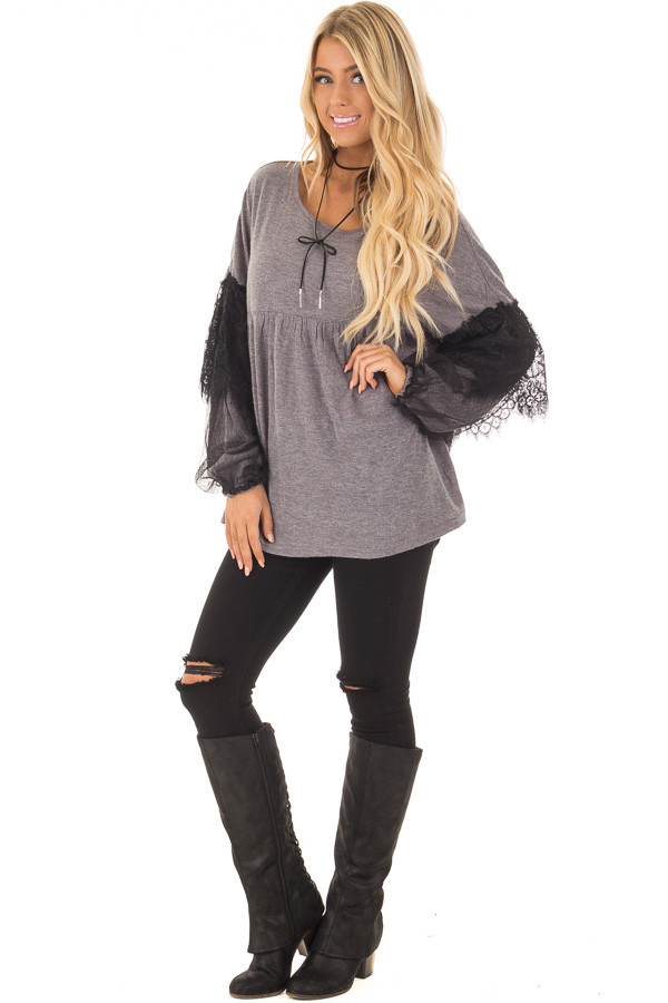 Charcoal Long Sleeve Top with Sheer Lace Details front full body