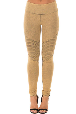 Mustard Acid Wash Moto Leggings front