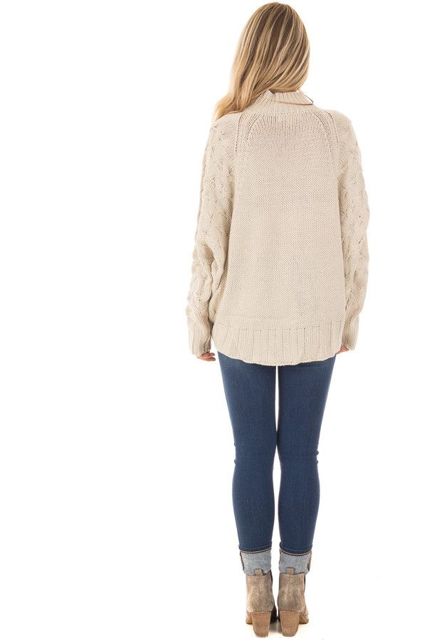 Beige Cable Knit Sweater with Zipper Details back full body