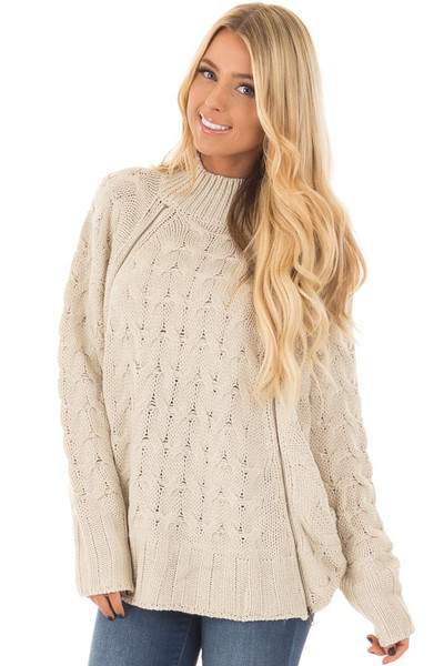 Beige Cable Knit Sweater with Zipper Details front closeup