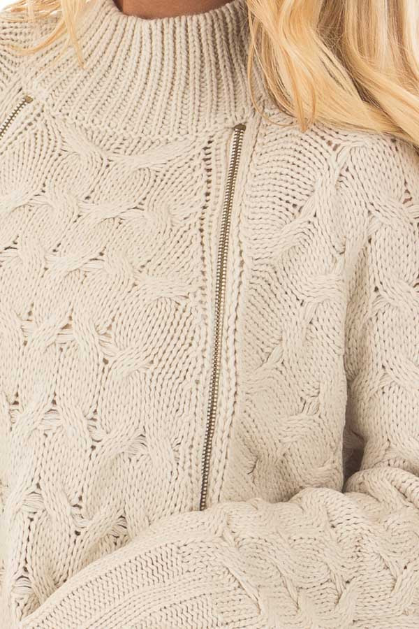 Beige Cable Knit Sweater with Zipper Details front detail