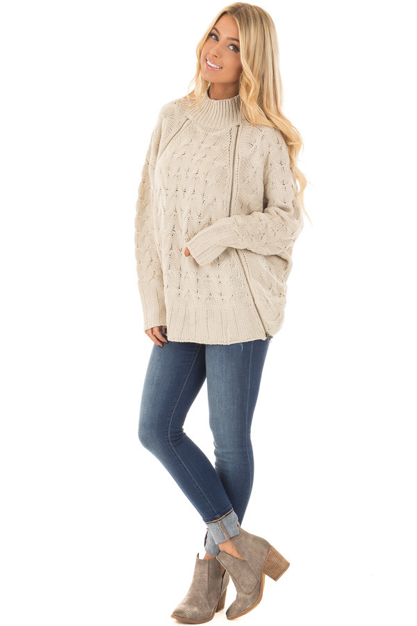 Beige Cable Knit Sweater with Zipper Details - Lime Lush Boutique