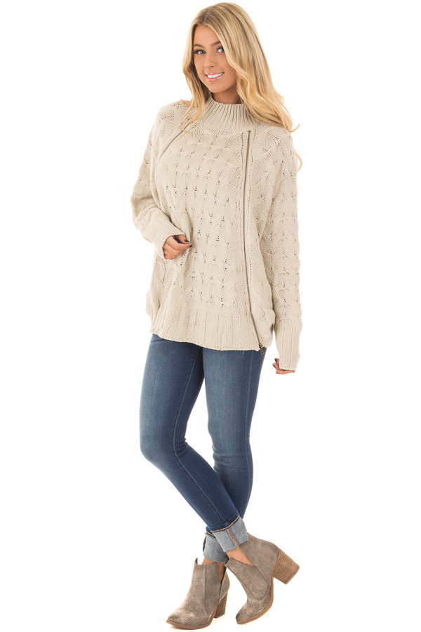 Beige Cable Knit Sweater with Zipper Details front full body