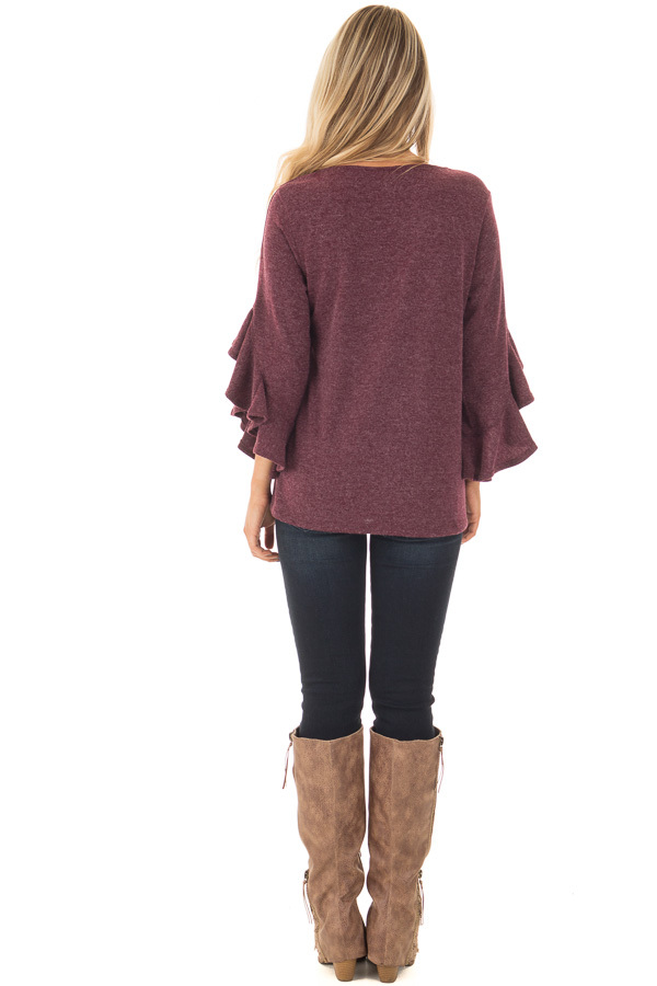 Burgundy Knit Top with Ruffled Hi Low Sleeves back full body