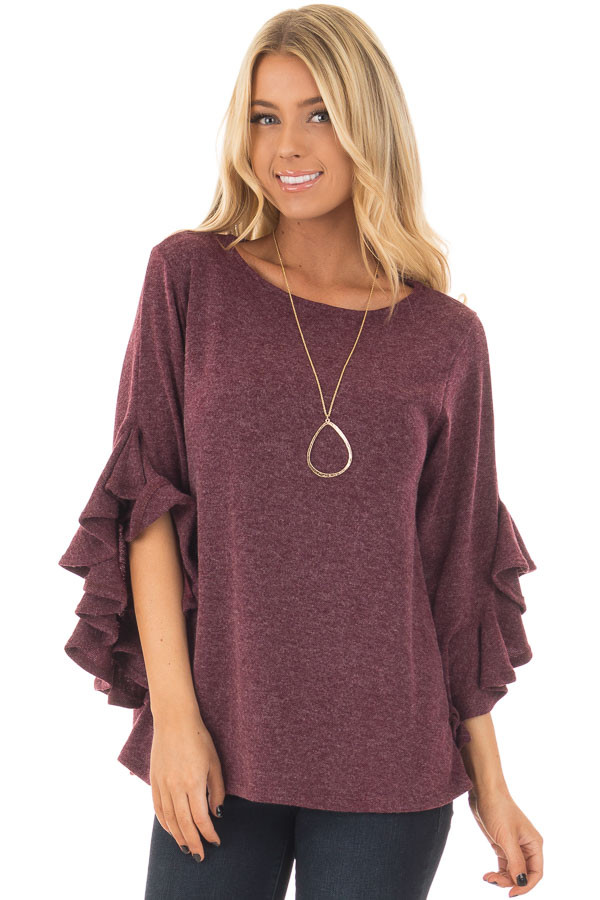 Burgundy Knit Top with Ruffled Hi Low Sleeves front closeup