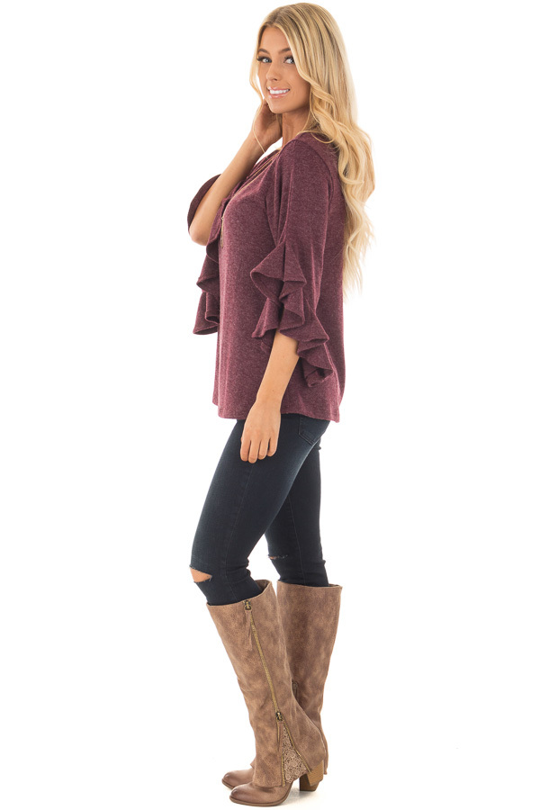 Burgundy Knit Top with Ruffled Hi Low Sleeves side full body