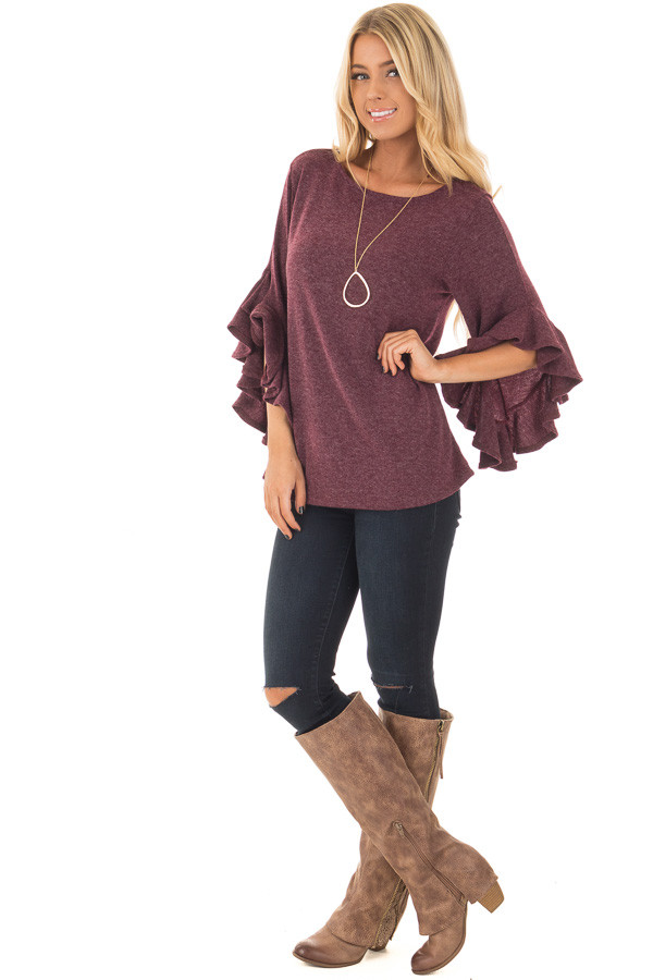 Burgundy Knit Top with Ruffled Hi Low Sleeves front full body