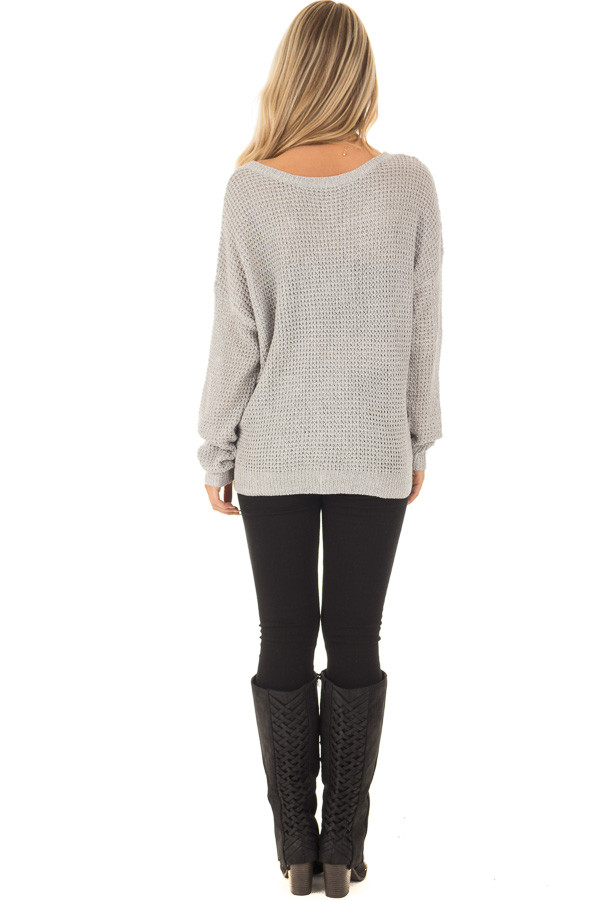 Grey Two Tone Reversible Sweater with Criss Cross Details back full body