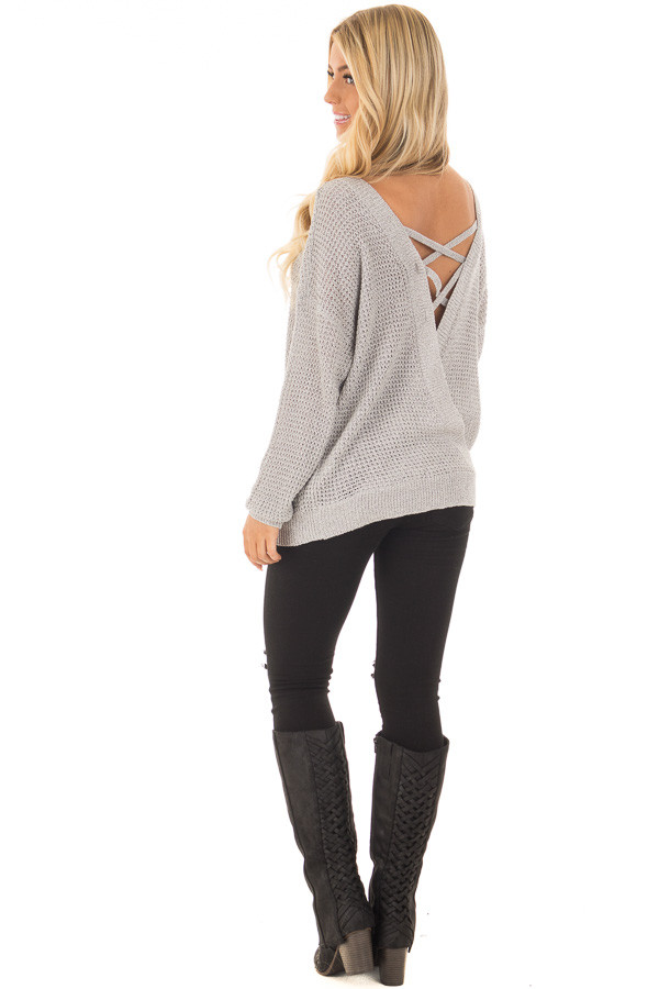 Grey Two Tone Reversible Sweater with Criss Cross Details back side full body
