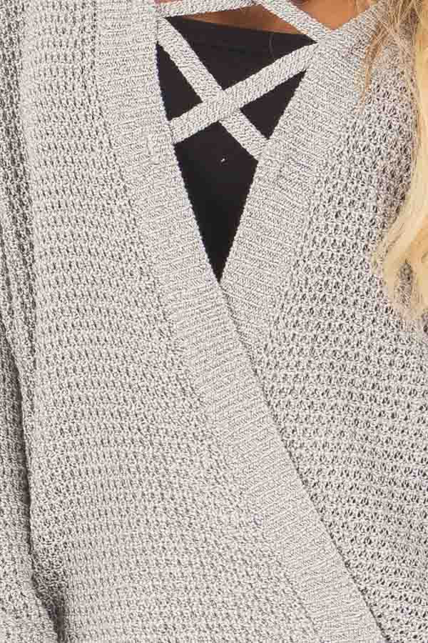 Grey Two Tone Reversible Sweater with Criss Cross Details detail