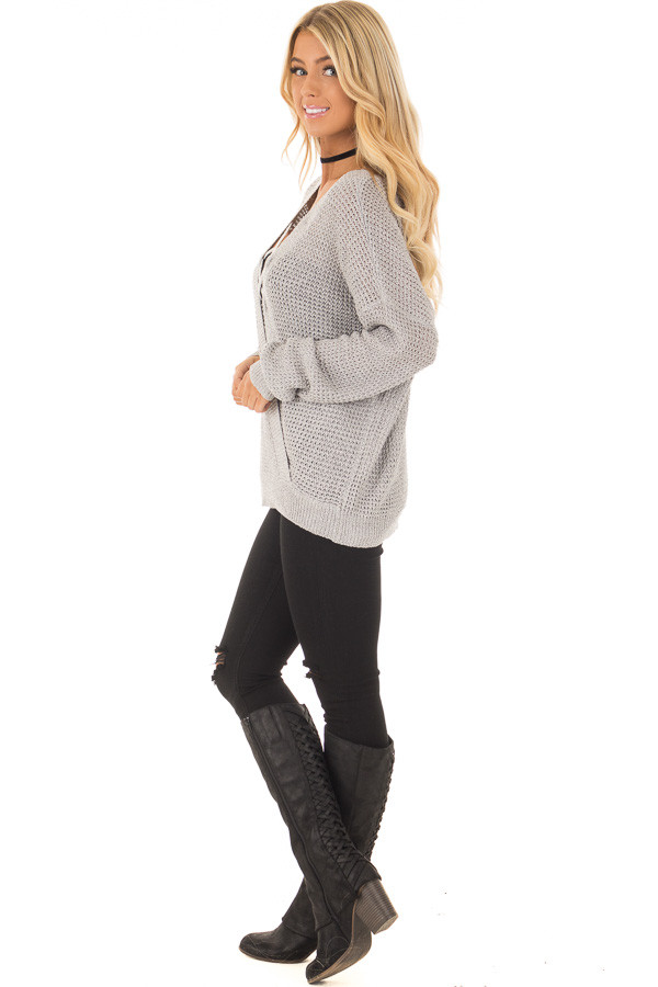 Grey Two Tone Reversible Sweater with Criss Cross Details side full body