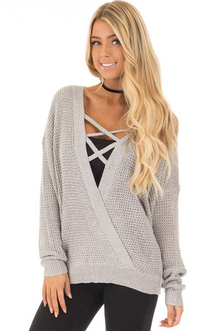 Grey Two Tone Reversible Sweater with Criss Cross Details front close up