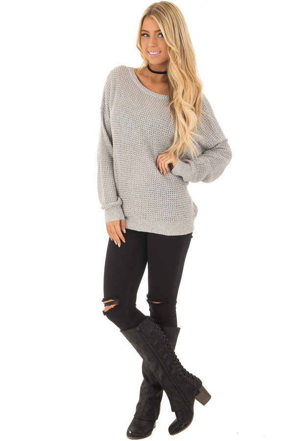 Grey Two Tone Reversible Sweater with Criss Cross Details front full body