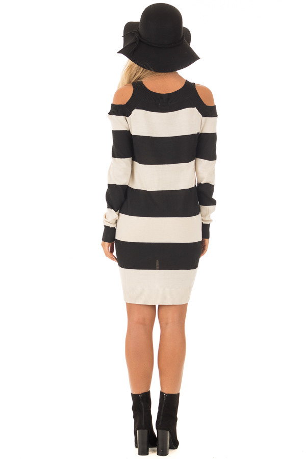 Black and Cream Striped Long Sleeve Cold Shoulder Dress back full body