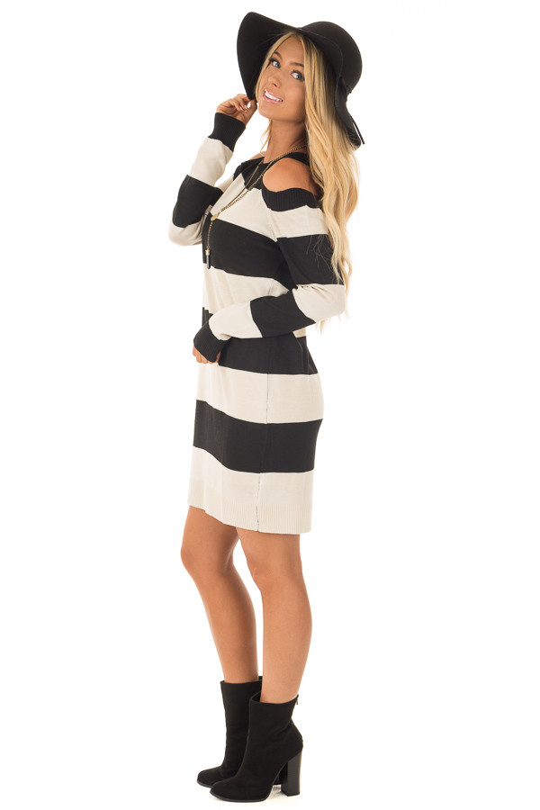 Black and Cream Striped Long Sleeve Cold Shoulder Dress side full body