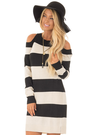 Black and Cream Striped Long Sleeve Cold Shoulder Dress front close up