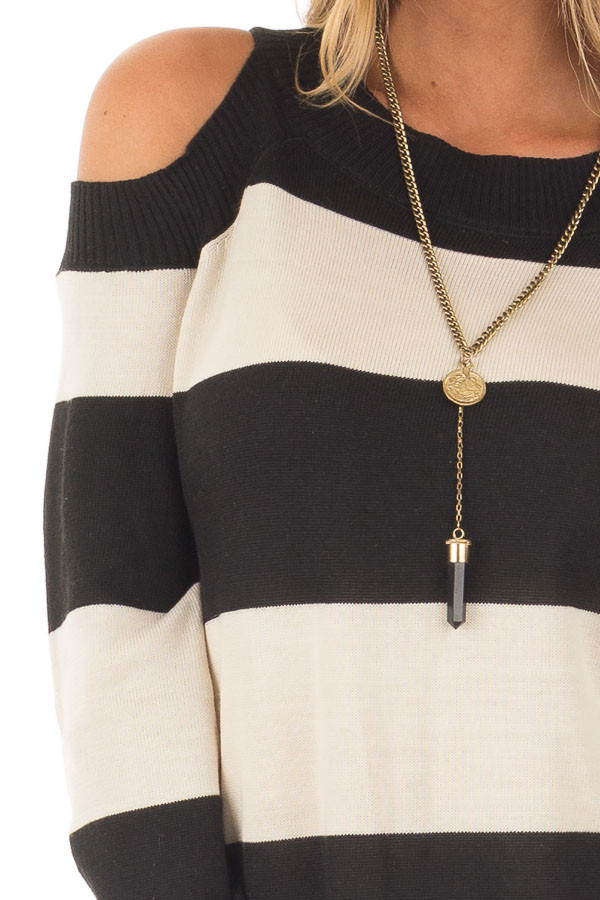 Black and Cream Striped Long Sleeve Cold Shoulder Dress detail
