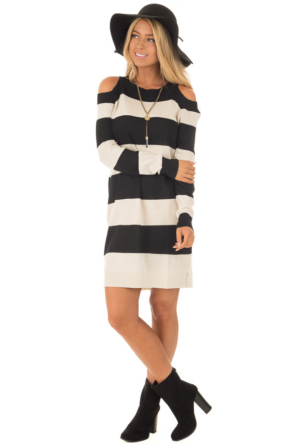Black and Cream Striped Long Sleeve Cold Shoulder Dress front full body