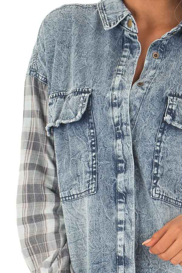 Acid Wash Denim Long Sleeve Top with Flannel Details detail