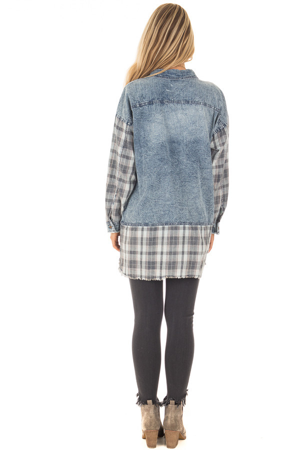 Acid Wash Denim Long Sleeve Top with Flannel Details back full body