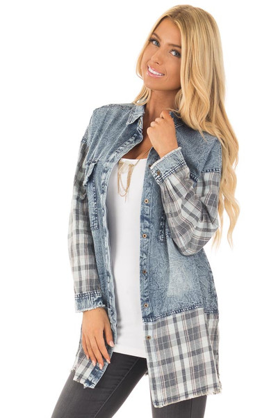 Acid Wash Denim Long Sleeve Top with Flannel Details front close up