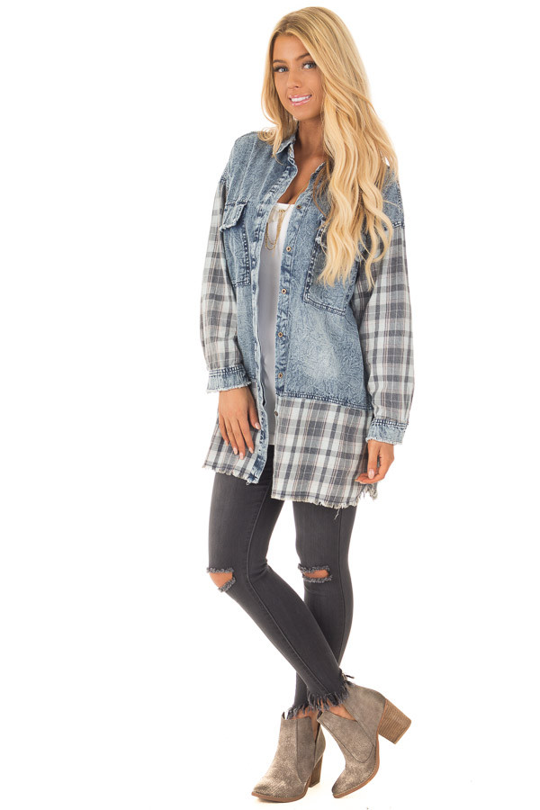 Acid Wash Denim Long Sleeve Top with Flannel Details front full body