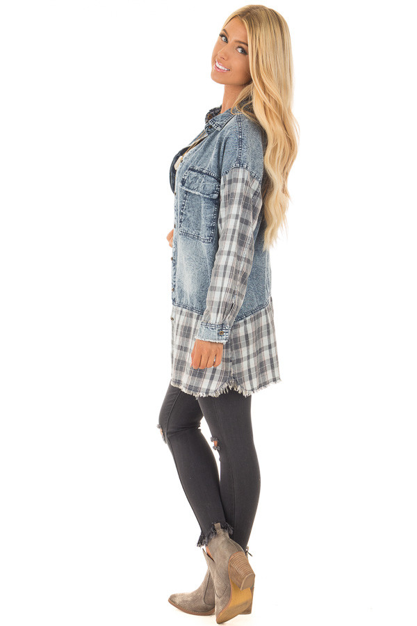 Acid Wash Denim Long Sleeve Top with Flannel Details side full body