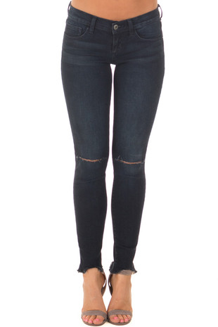 Indigo Knee Cut Out Jeans with Distressed Cuffs front