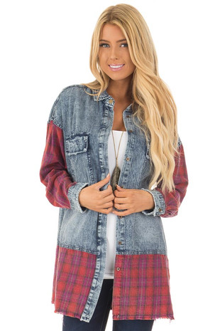 Acid Wash Denim Long Sleeve Top with Red Flannel Details front close up