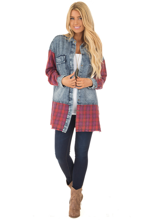 Acid Wash Denim Long Sleeve Top with Red Flannel Details front full body
