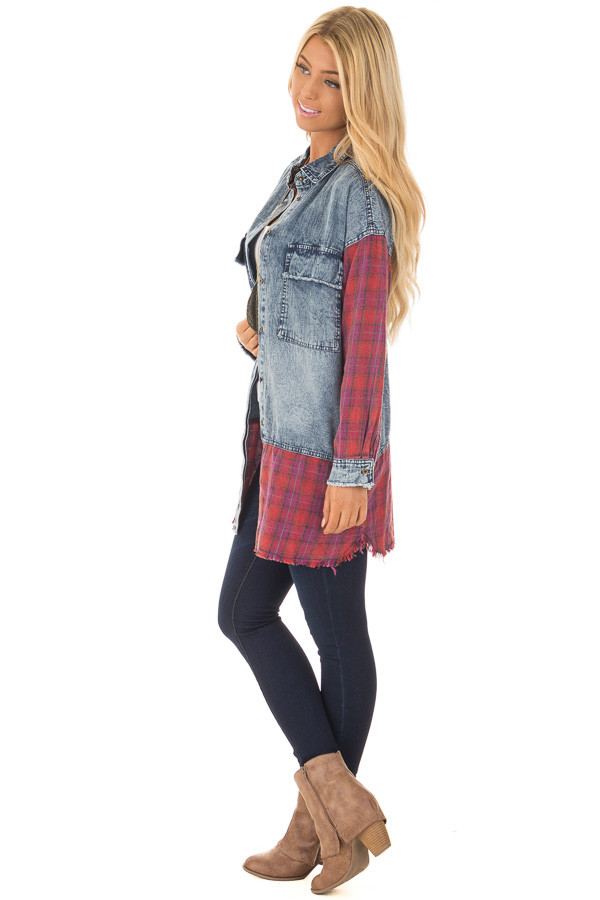Acid Wash Denim Long Sleeve Top with Red Flannel Details side full body