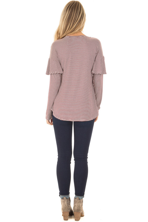 Burgundy and White Stripe Long Sleeve Top with Ruffle Detail back full body