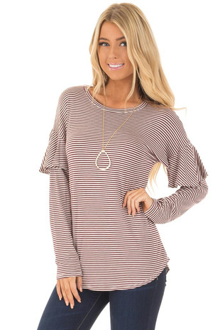 Burgundy and White Stripe Long Sleeve Top with Ruffle Detail front close up