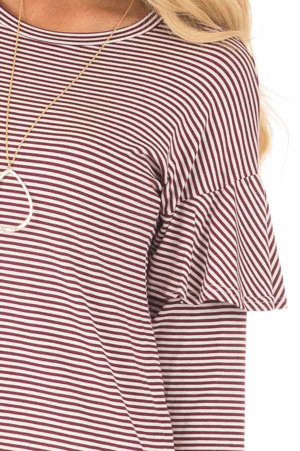 Burgundy and White Stripe Long Sleeve Top with Ruffle Detail detail