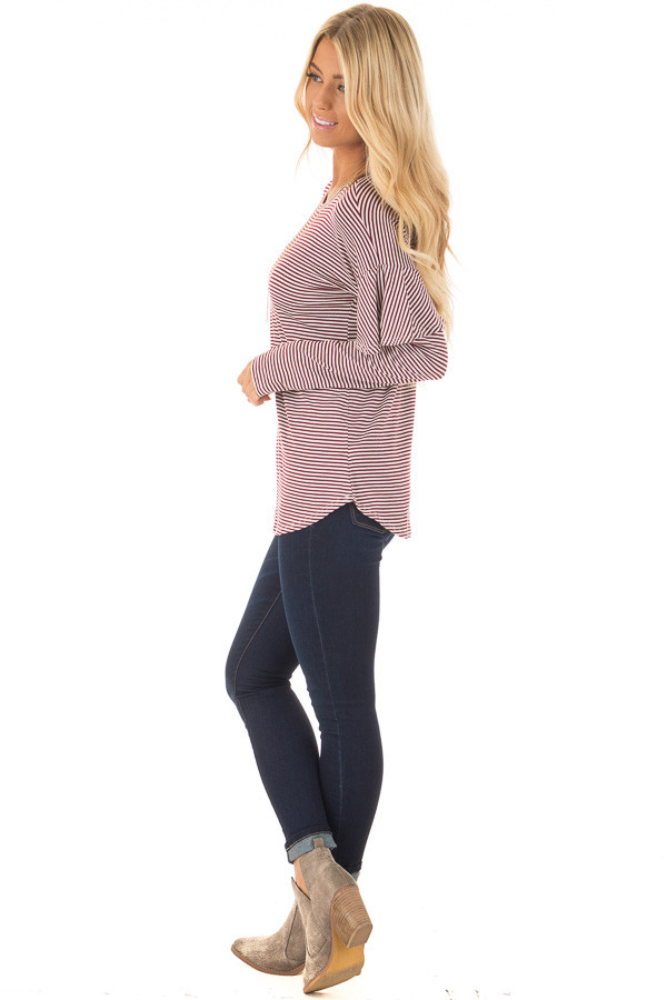 Burgundy and White Stripe Long Sleeve Top with Ruffle Detail side full body